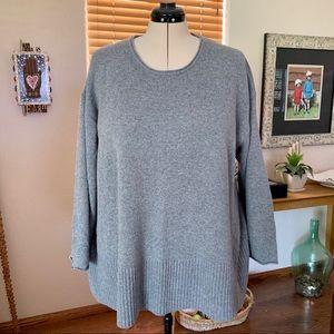 J. Jill Woman wool & cotton heather grey sweater